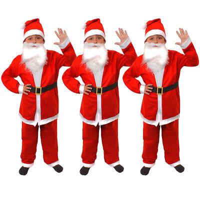 PACK OF BOYS SANTA CLAUS COSTUME BUDGET FATHER CHRISTMAS SUIT FANCY DRESS LOT  - Boys Santa Suit