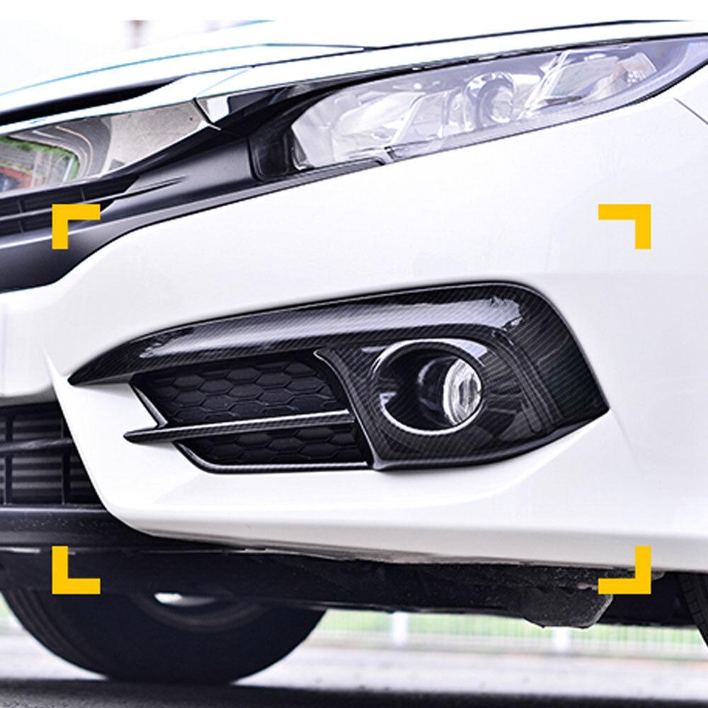 Car Carbon Front Foglight Fog Lamp Cover Trim fit For Honda Civic 2016-2018
