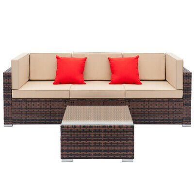 Patio Garden Rattan Furniture Outdoor & Indoor Cushioned Coffee Table Sofa (Outdoor Indoor Patio)