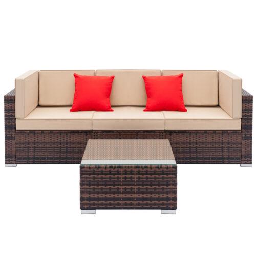 Garden Furniture - Patio Garden Rattan Furniture Outdoor & Indoor Cushioned Coffee Table Sofa Brown