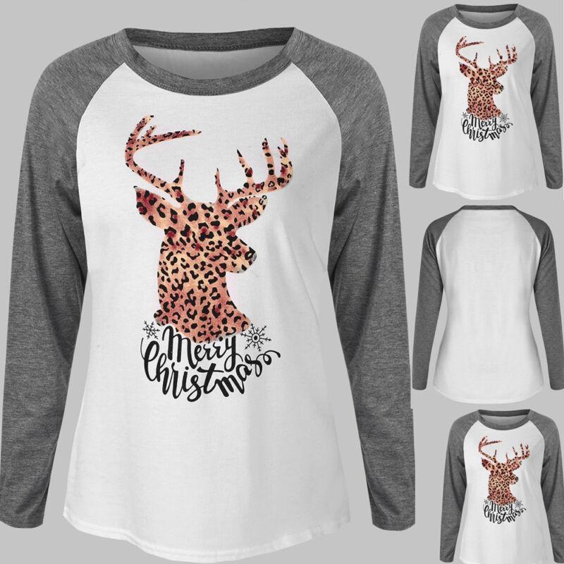 Women Merry Christmas Letter Print Leopard Elk Print Raglan Patchwork T-Shirt