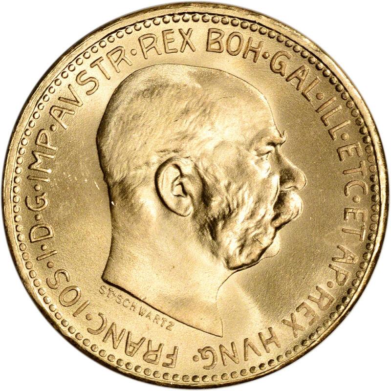 1915 Austria Gold 20 Corona (.1960 Oz) - Franz Joseph I - Bu - Restrike