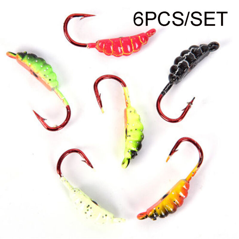 6Pcs 23mm//1.5g Ice Fishing Lure Maggot Worm The New Metal Bait Ice Mini Jig HK
