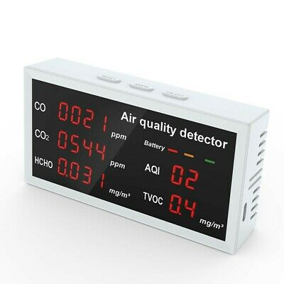 5 In1 Indoor Air Quality Monitor CO CO2 HCHO TVOC AQI Meter Detector Tester