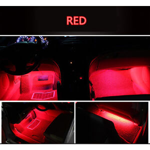 4x 9 LED Red Charge Interior Accessories Foot Car Decorative Light Lamps LED RED