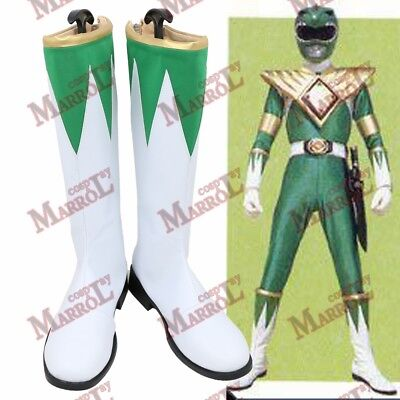 Zyurange Dragon Ranger Green Cosplay Boots Halloween Tommy Shoes New