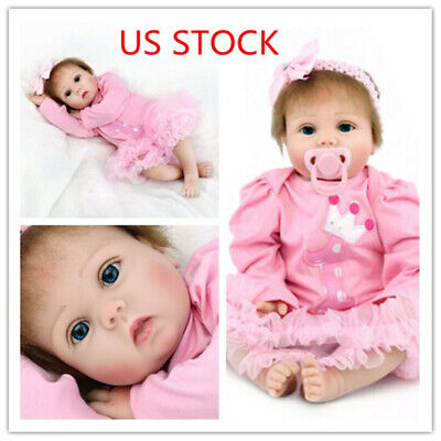 "22"" Reborn Baby Dolls Vinyl Silicone Girl Realistic Newborn Birth Gift Toddler"