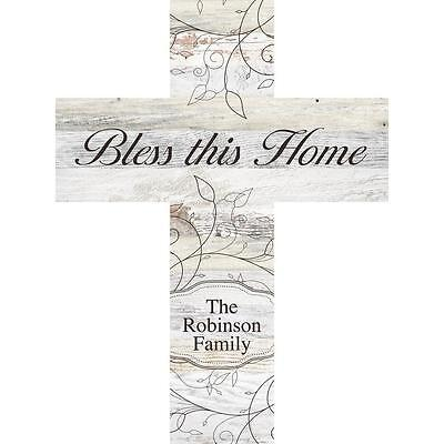 Laser Engraved Crosses - Personalized Laser Engraved Wall Cross, BLESS THIS HOME, Family Last Name, 16