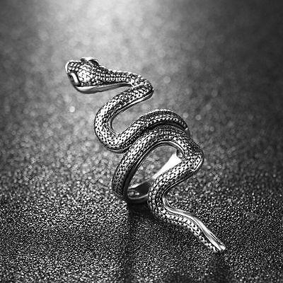 Hot Gothic Snake Animal Vintage Jewelry Men Women Stainless Steel Punk Rock Ring
