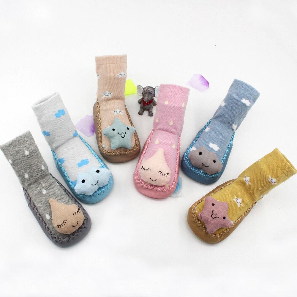 0-3T Cartoon Newborn Baby Girls Boys Anti-slip Leather Socks Slipper Shoes Boots