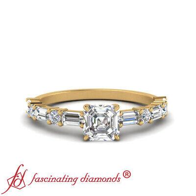 1 Carat Asscher Cut Diamond Horizontal Baguette Engagement Ring In Yellow Gold
