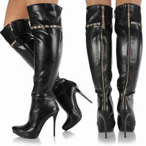 womens black knee thigh high leather style