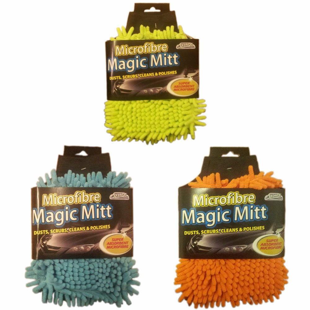 MICROFIBRE MAGIC MITT SUPER ABSORBENT CAR CLEANER DUST POLISH DRY SCRUBS