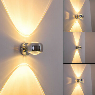 Chrom Wandleuchte Lampe (Design Wandleuchte Sapri Wohn Schlaf Ess Zimmer Raum Up&Down Lampe Chrom)