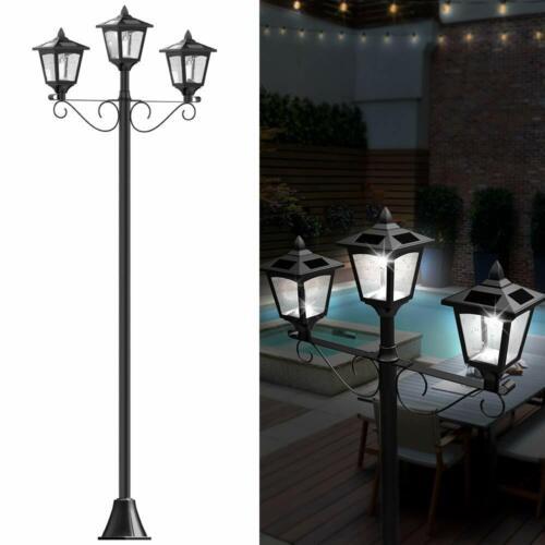 "Upgrade 72"" Triple-Head Street Vintage Outdoor Garden Solar Lamp Post Light Lawn"