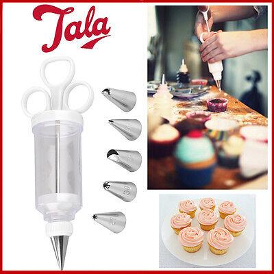 Fondant Cake Icing Decoration Syringe Set Plastic Piping 6 Tips Nozzle Tool Kit