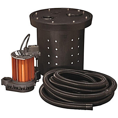 Heavy Duty Submersible Sump Pump 1/3HP 115V Auto Crawl Space Kit Liberty CSP 237