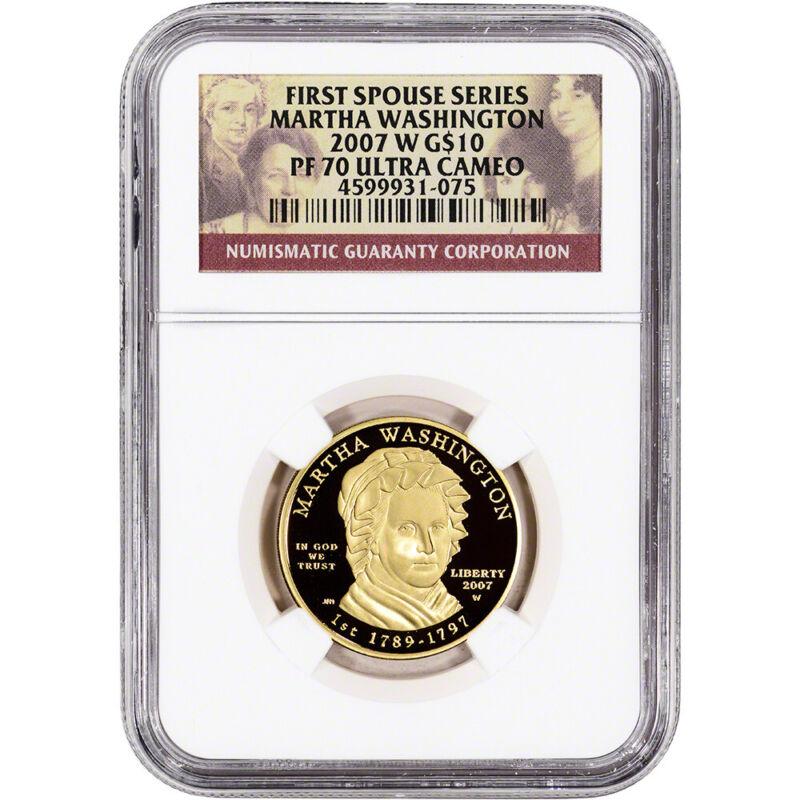 2007-W US First Spouse Gold 1/2 oz Proof $10 - Martha Washington NGC PF70
