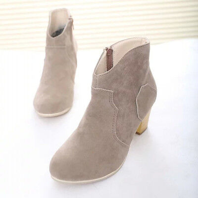 Women Short Cylinder Boots High Heels Boots Shoes Martin Boots Ankle Boots New 4