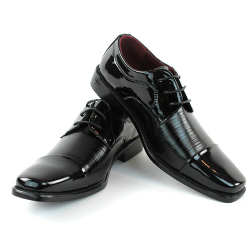Mens Tuxedo Shoes Black Cap Toe Patent Shiny Lace Up Alberto Fellini TUXI 05