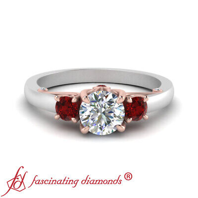3 Stone Underneath Scroll Engagement Ring With 1 Carat Round Cut Diamond & Ruby 1