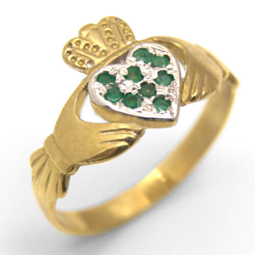 Claddagh Ring Emerald Set Face Solid 9ct Gold Fully Hallmarked