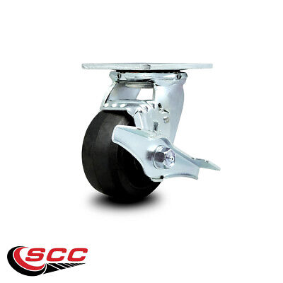 Scc 4 Rubber On Cast Iron Wheel Swivel Caster Wbrake - 400 Lbscaster