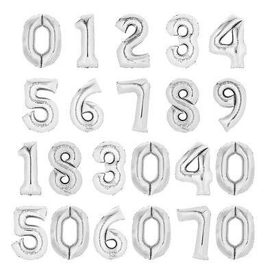 Folienballon, Zahlen silber, Anagram Super Shape, Markenware Mit und ohne Helium