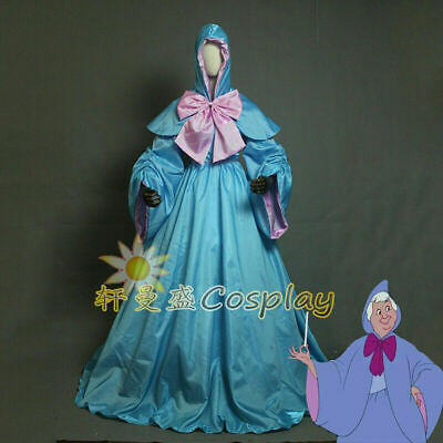 Fairy Godmother Cape (The Fairy Godmother Drizella Cosplay Dress Cape Hood Costume Cinderella)