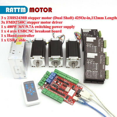 Usb Cnc 3 Axis Nema23 Stepper Motor 112mm Dual Shaft 425oz.in Fmd2740c Driver