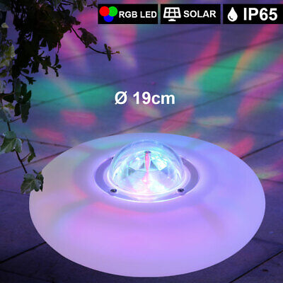 RGB LED Jardín Lámpara Estanque Piscina Foco Agua Veranda Blanco Redondo Solar