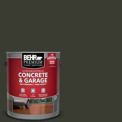 1 Gal. Jet Black Epoxy Paint Concrete Garage Basement Floor Patio Driveway BEHR Basement Concrete Floor Paint