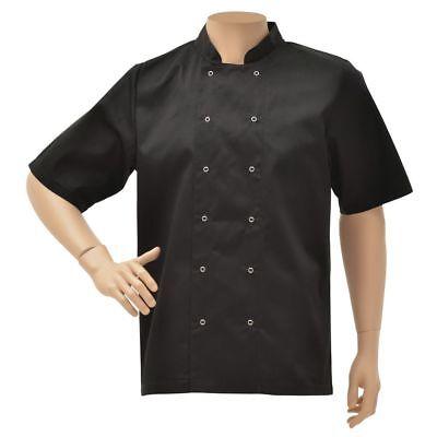 Hubert Chef Coat Short Sleeve Black Poly Cotton Short Sleeve Chef Coat - Small
