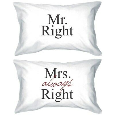 His and Hers Matching Pillowcases - Mr Right and Mrs Always Right Pillow Covers - Mr And Mrs Pillow