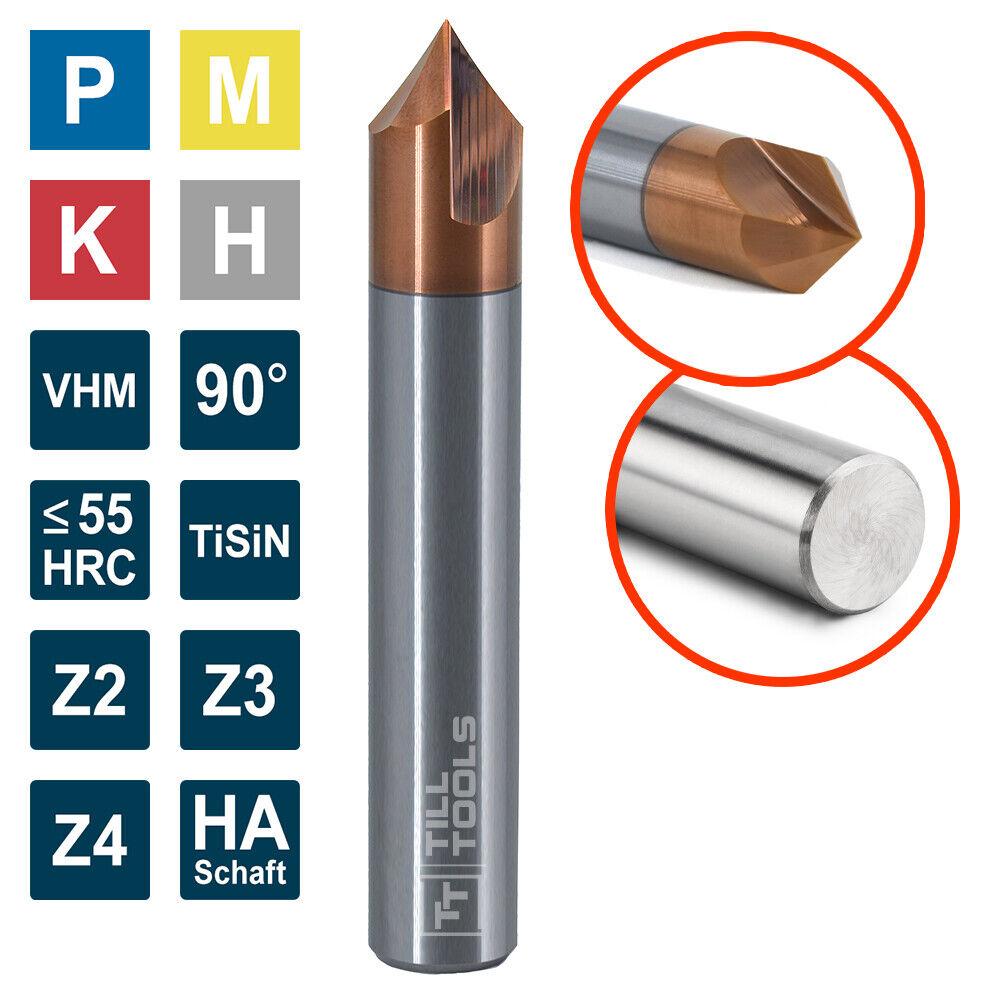 VHM Entgrater 90° Ø 4-20 mm Entgratfräser Z=2/3/4 Fasenfräser TiSiN HRC55
