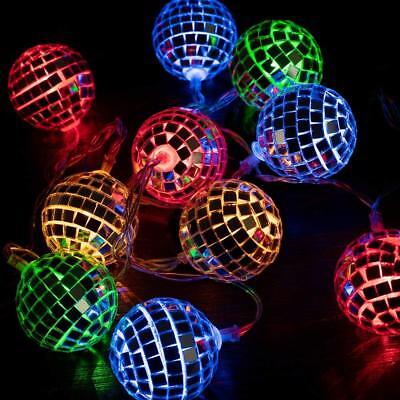 West Ivory 5.5 feet 10 Mixed Multi-Colors Mirror Disco Ball String Fairy Globe - Disco Ball String Lights