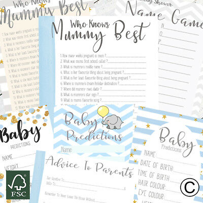 Baby Shower Games For Baby Boy Prediction Cards Who Knows Mummy Best Advice