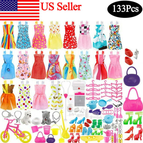 133 PCs Doll Clothes Party Dress Shoes Bags Necklace Toy Accessory Set Kid Gift