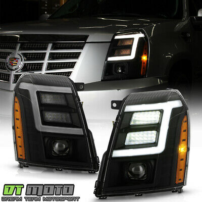 2007-2014 Cadillac Escalade HID/Xenon Black Smoked LED DRL Projector Headlights