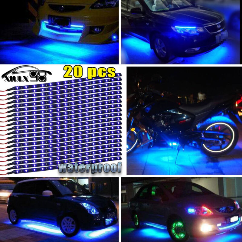 "Car Parts - 20X Blue 15LED/12"" Flexible Light Strip for Car Boat Truck DRL Waterproof DC12V"