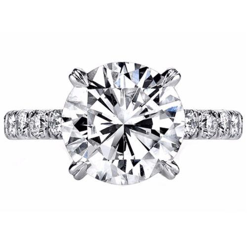 2.95 Carat Round Cut Platinum Diamond Engagement Ring GIA Certified