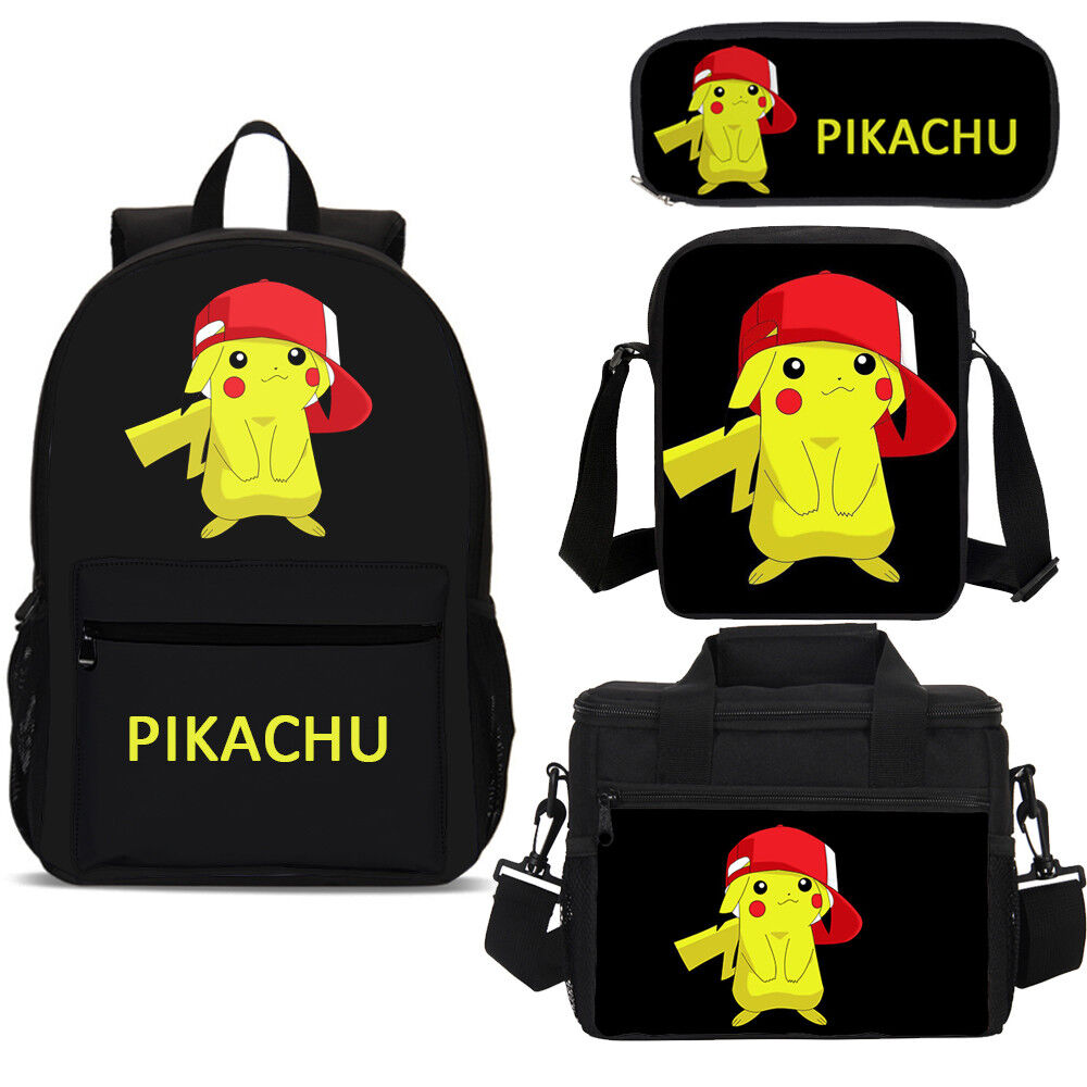 Pokemon poke ball pikachu Backpack Laptop Bag Color Print book shoulder package