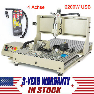 4 Axis Cnc 6090 Router Engraver 2200w Usb Engraving Milling Machine Controller