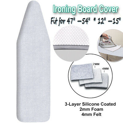 """Deluxe Ironing Board Cover &Pad 3Layer Silicone Cover & Protective  Mesh 15""""x54"""" ()"""