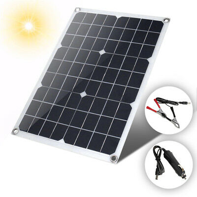 U 18V 20W Watt Semi Pliable Solar Panel Battery Charger Controller + Controller