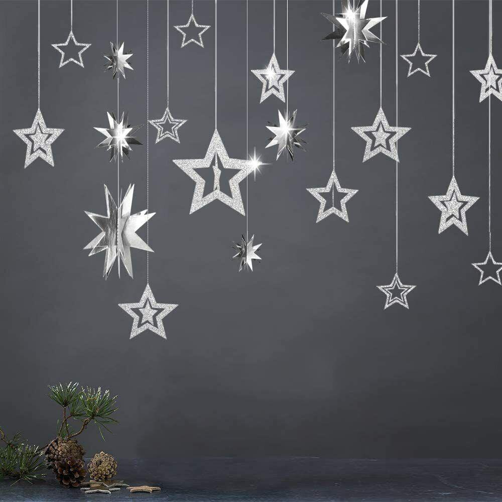 Hanging Glitter Silver Star Garland Kit For Kid Room Birthday Nursery Decoration - $11.99