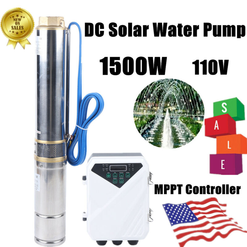 1.5KW  DCSolar Water Pump Submersible Deep Well 13000L/H 110V Max lift 60m US