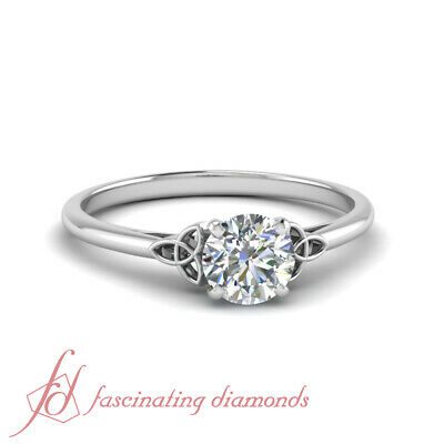 Solitaire 0.75 Carat Round Cut Diamond White Gold Celtic Style Engagement Ring