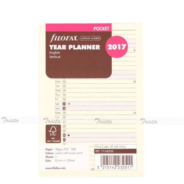 Filofax Pocket Size 2017 Vertical Year Planner Calendar In Cotton Cream Refill
