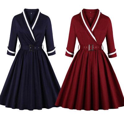 50s Vintage Style Women Swing Dress Ladies Plus Size Party Skater A-Line Dresses
